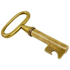 Carl Aubock Big Brass Key Cork Screw, Bottle Opener, Austria, 1950s
