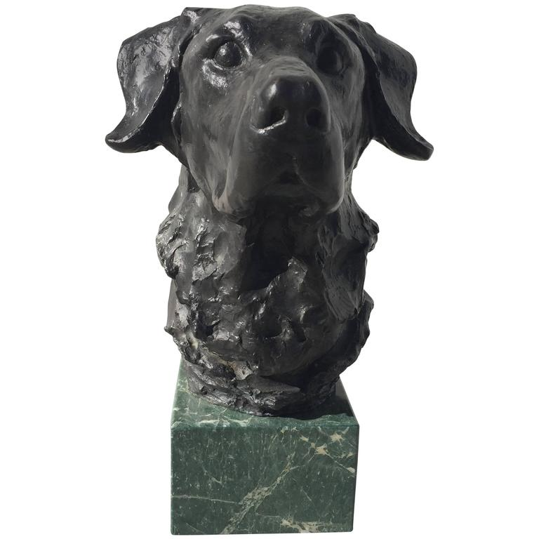 Bronze Sculpture of Labrador Head