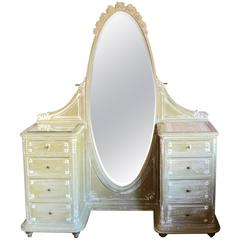 French Louis XVI Style Painted Vanity Dressing Table, circa 1900