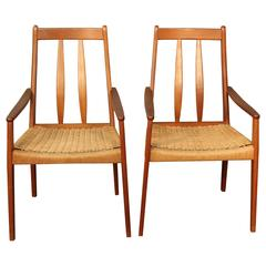 Pair of Danish Teak High Back Armchairs with Daish Chord Seats