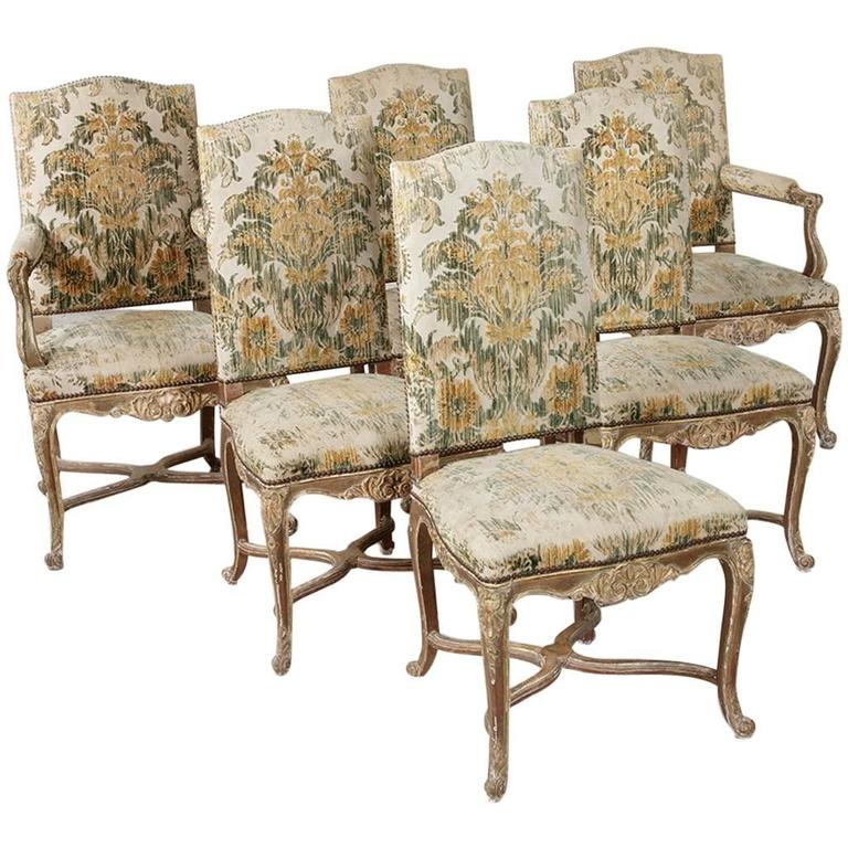 19th Century French Hand Carved Aged Giltwood Regency Style Dining Chairs