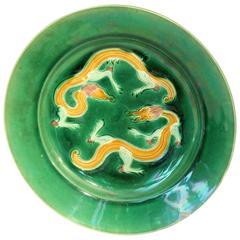 Antique Awaji Pottery Incised Sancai Dragon Plate