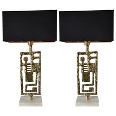 Pair of Table Lamps by Angelo Brotto, Italy, circa 1970