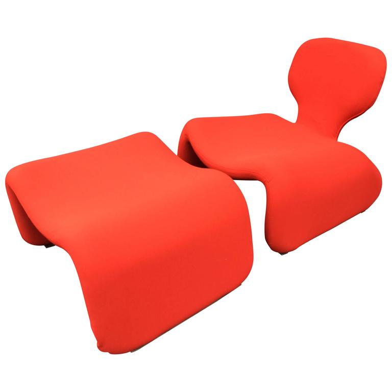 Djinn Chair and Ottoman by Olivier Mourgue for Airborne