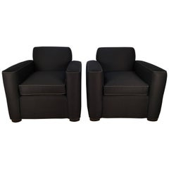 Pair French Art Deco Club Chairs