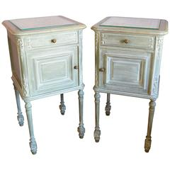 Pair of French Painted Louis XVI Style Bedside Cabinets, circa 1900