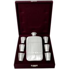 Rare French All Sterling Silver Hip Flask Gift Set with Six Cups, Original Case