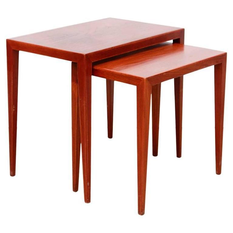 Set Of Two Danish Modern Nesting Tables By Severin Hansen Side Tables In  Teak 1