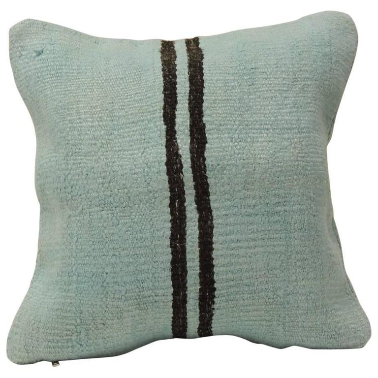 True Modern Pillows : Acqua Blue Stripe Turkish Modern Double-Sided Pillow at 1stdibs