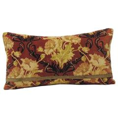 Vintage Art Nouveau Style Gold and Red Cotton Velvet Bolster Decorative Pillow