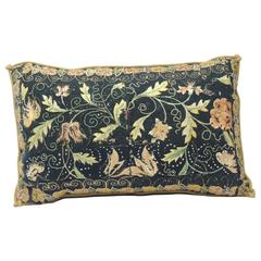 18th Century Embroidered Long Bolster Italian Silk Floss Decorative Pillow