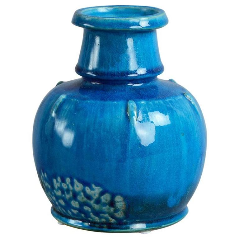 vase with glossy turquoise glaze by nils kahler for herman a