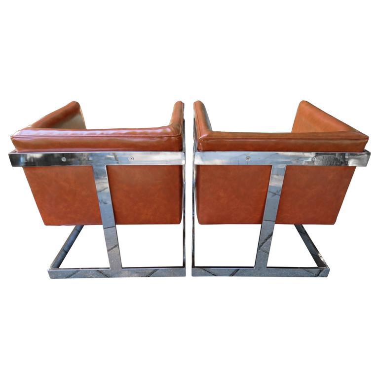 Stunning Pair of Signed Milo Baughman Thayer Coggin Chrome Cube Chairs Modern