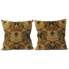 Pair of Vintage Art Noveau Style Cotton Velvet Decorative Pillows