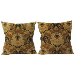 Pair of Vintage Art Noveau Style Cotton Velvet Decorative Pillows