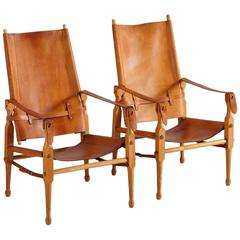Pair of Safari Chairs in Natural Cognac Leather