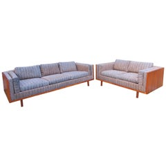 Pair of Milo Baughman Style Walnut Case Loveseat Sectional Mid-Century Modern