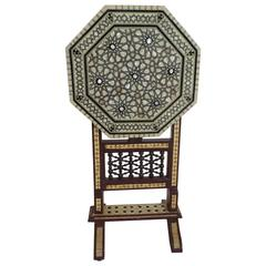 19th Century Syrian Mother-of-Pearl Inlaid Tilt-Top Side Table