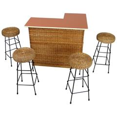 Basketwork Dry Bar with Four Bar Stools from Eastern Germany, 1950s