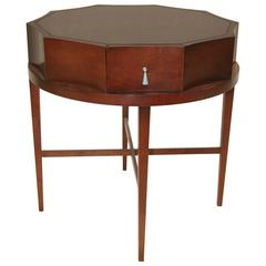 Round Mahogany Scalloped Edge Side Table by Baker Furniture