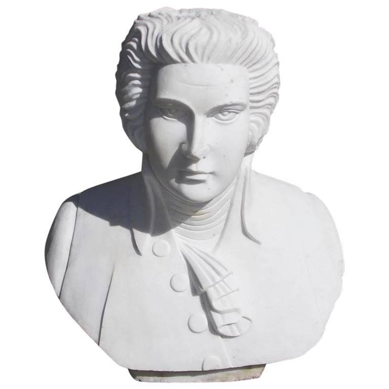 English Marble Bust of Ludwig Van Beethoven, Circa 1880 For Sale