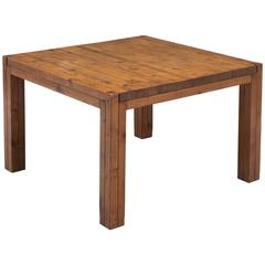 Italian Square Dining Table in Patinated Pine