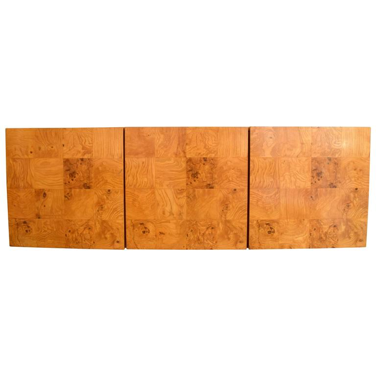 Milo Baughman Wall-Mounted Burl Wood Cabinet