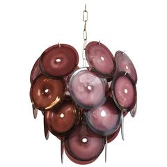 Vintage 1960s Murano Vistosi Disc Chandelier in Deep Purple Color