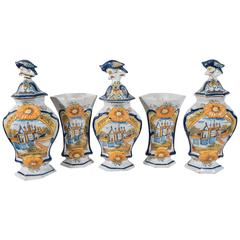 Garniture of Five Delft Vases Painted in Colorful Polychrome IN STOCK