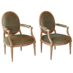 French 18th Century Louis XVI Painted Armchairs with Velvet Upholstery Stamped