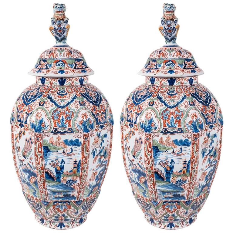 pair of delft ginger jars with polychrome colors 1