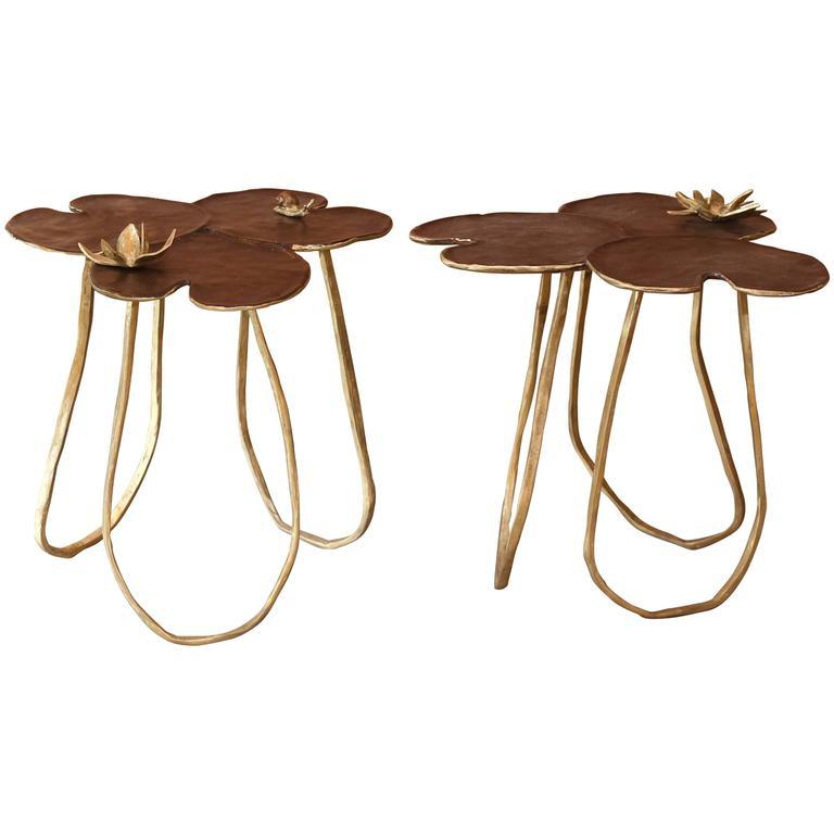 Bronze Lilly Pad Tables Signed By Paula Swinnen With Brown Patina Top And Lotus For Sale At 1stdibs