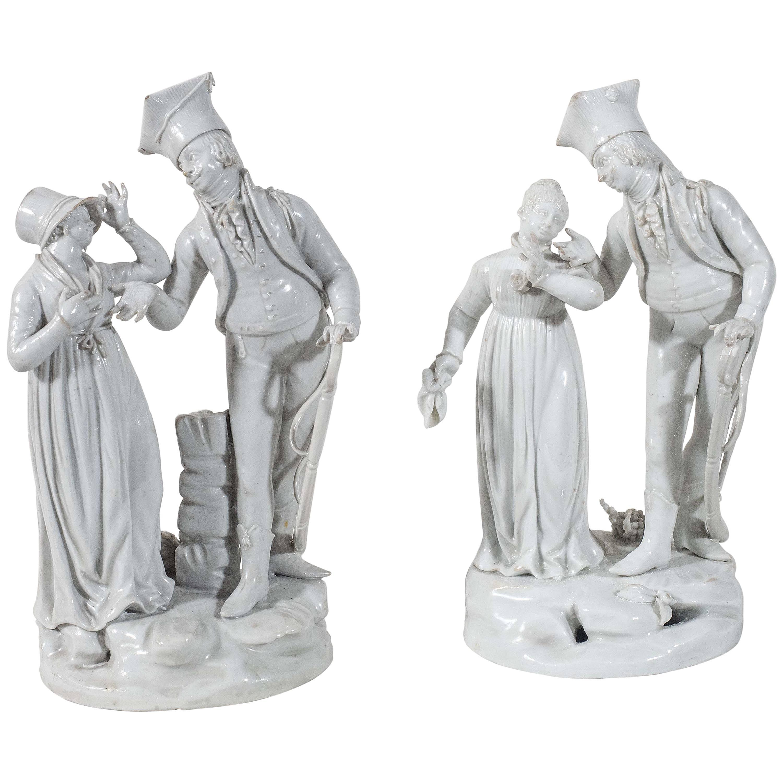 A Pair Of  Antique Le Nove Porcelain Statues