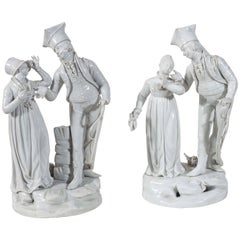 Two Pairs Of  Antique Le Nove Porcelain Statues