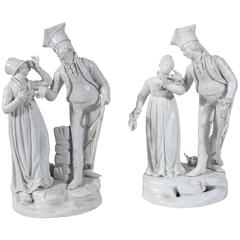 Antique Ginori Porcelain Statues