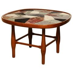 Specimen Marble and Fruitwood, 1950s Coffee Table