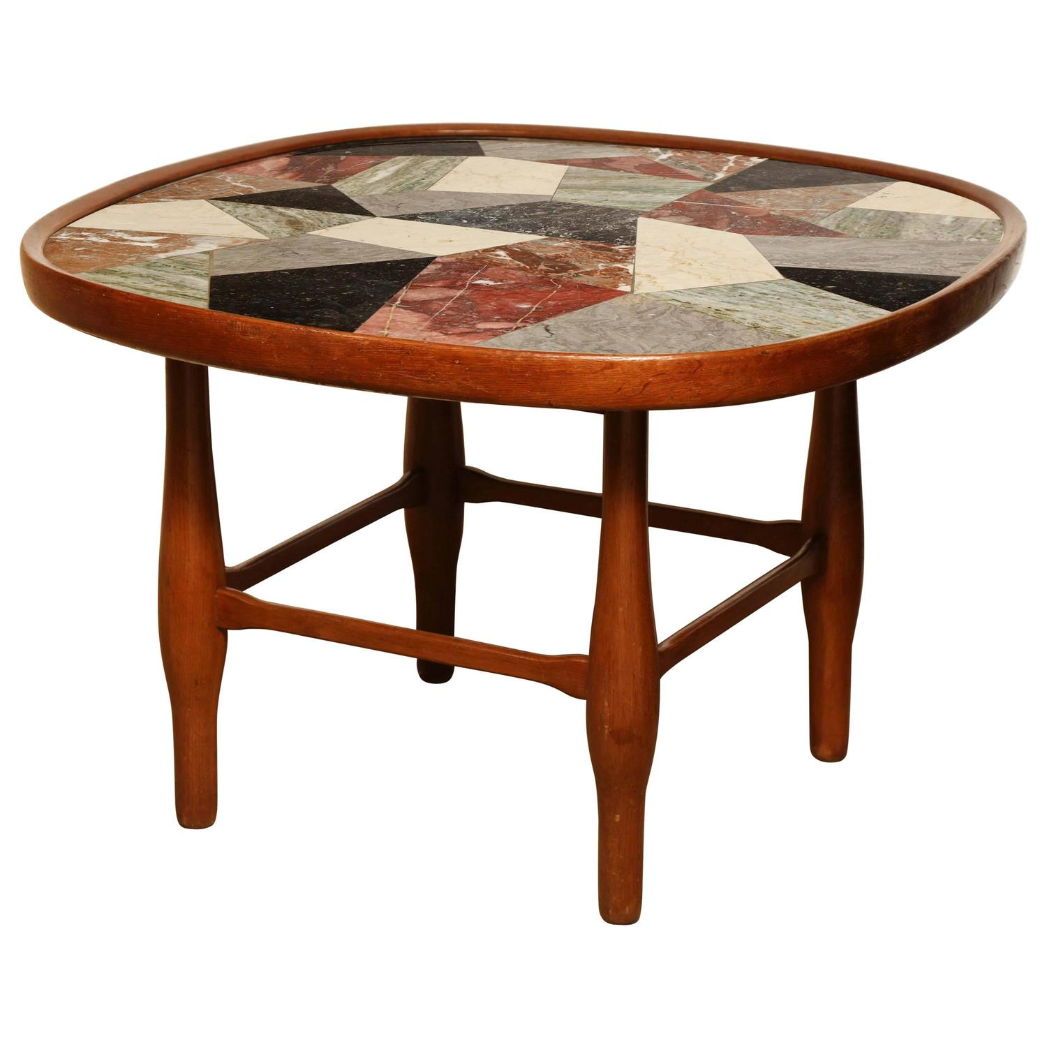 New York Marble Coffee Table: Specimen Marble And Fruitwood, 1950s Coffee Table For Sale