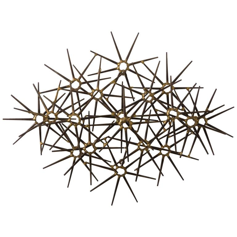 Mid-Century Metal 17 Starburst Wall Sculpture For Sale