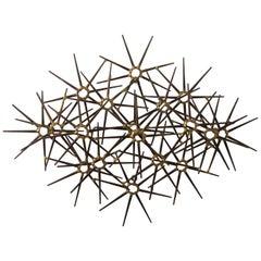 Mid-Century Modern Metal Starburst Wall Sculpture