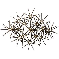 Mid-Century Metal 17 Starburst Wall Sculpture