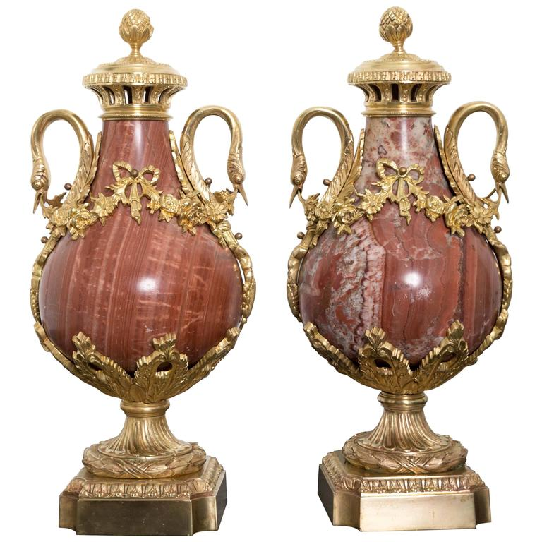 Pair of 19th Century Red Marble and Gilded Bronze Ormolu Mounts Pear Shaped Urns For Sale