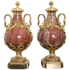 Pair of 19th Century Red Marble and Gilded Bronze Ormolu Mounts Pear Shaped Urns