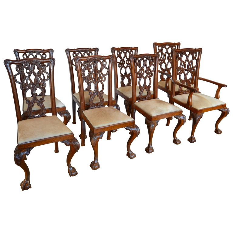 English Mahogany Chippendale Dining Chairs in Cowhide at
