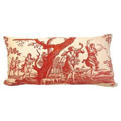 18th Century French Toile De Nantes of Diane the Huntress Pillow