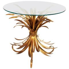 Italian Gilted Metal Wheat Sheaf Coffee Table