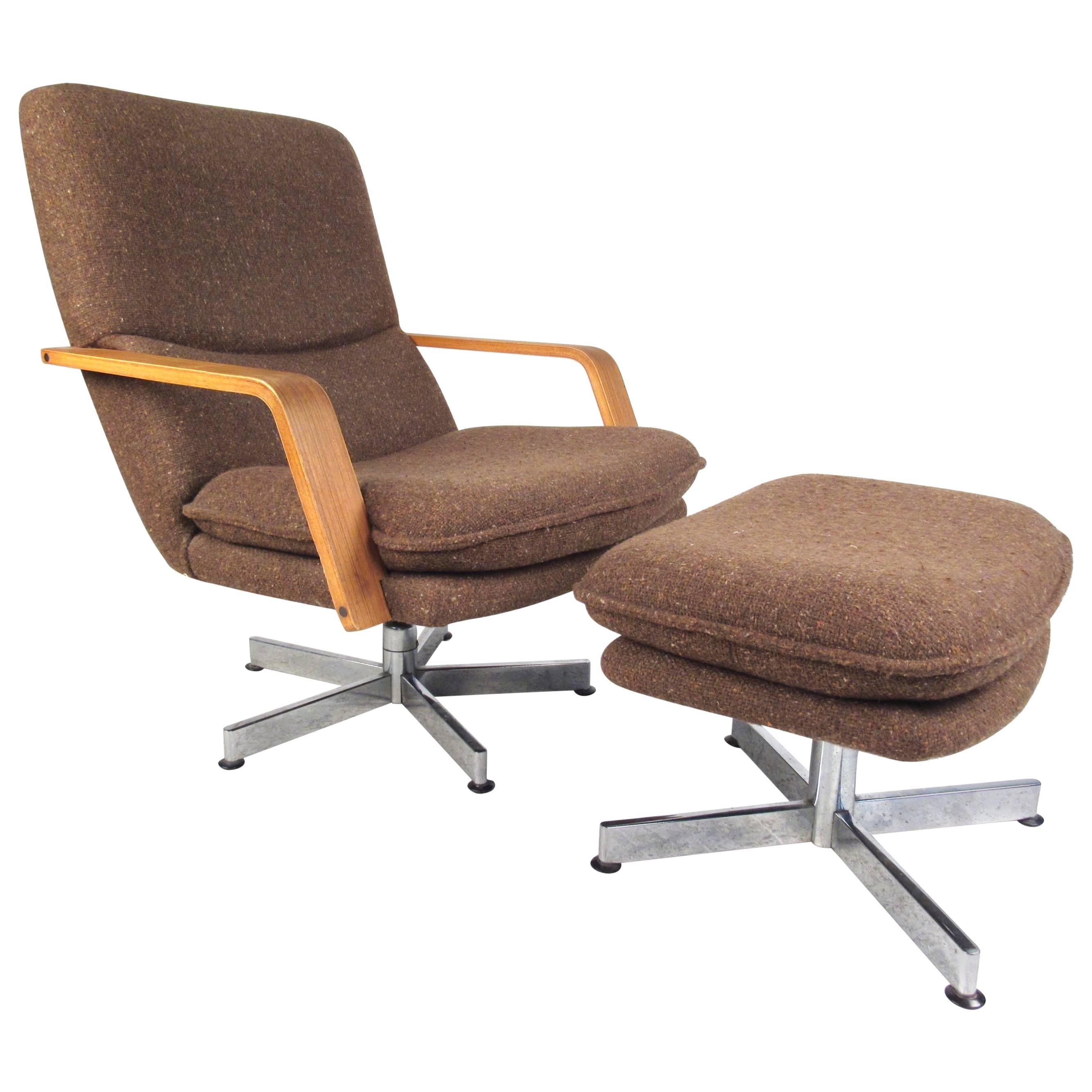 Mid-Century Modern Style Swivel Lounge Chair with Ottoman