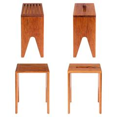 Contemporary Prop Stool Handmade Solid Cherry Wood Seat from CBR Studio