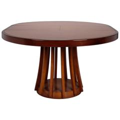 Mid-Century Round Italian Table with Self Storing Butterfly Leaf