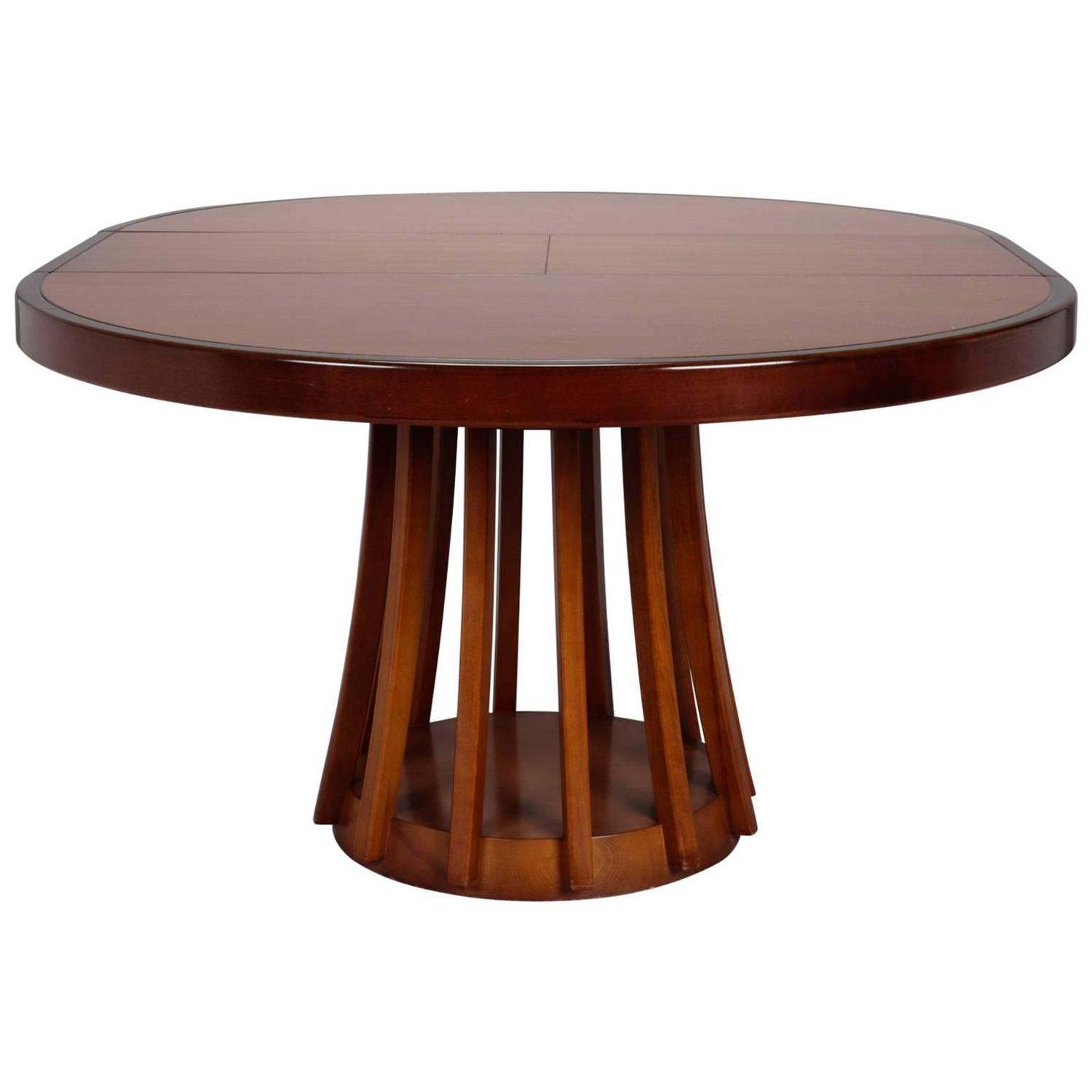 Mid Century Round Italian Table With Self Storing