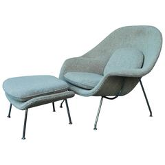Early 1960s Eero Saarinen Knoll Leather Womb Chair and Ottoman at